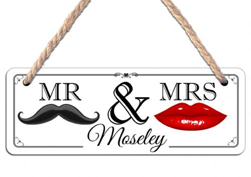 Personalised Mr & Mrs Wedding Hanging Door Sign Plaque N30